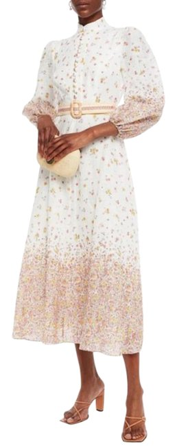 Item - Ivory New Belted Floral-print Linen Midi Long Casual Maxi Dress Size 10 (M)