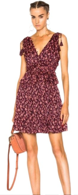 Item - Red New Johnson™noelle Floral Maroon Floral Short Casual Dress Size 4 (S)