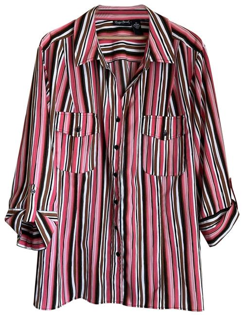 Item - Pink & Brown Striped Button Up Shirt - (26/28w) Button-down Top Size 28 (Plus 3x)