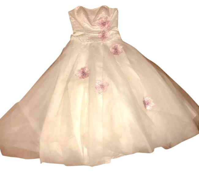Item - White and Pink Ball Gown Long Formal Dress Size 16 (XL, Plus 0x)