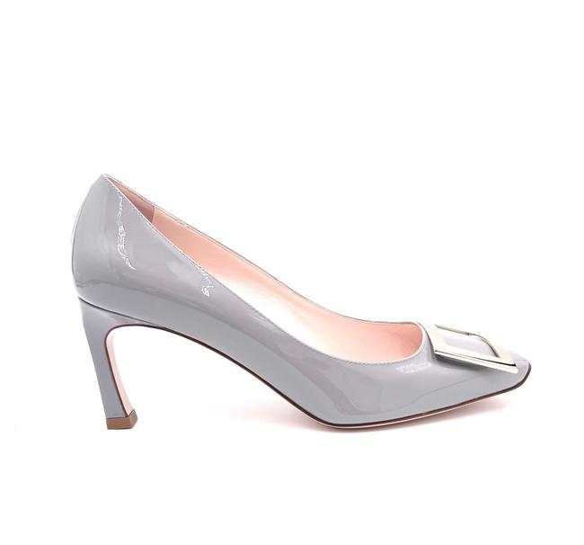 Item - Gray Trompette Metal Buckle In Patent Leather Pumps Size EU 37 (Approx. US 7) Regular (M, B)