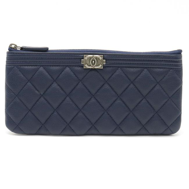 Item - Navy Long Clutch Boy Matelasse Coco Mark Small Multi Pouch Smartphone Case Leather A81254 Wallet