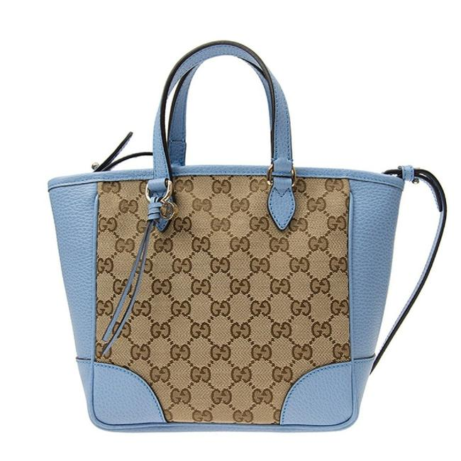 Item - Tote Bree Small Gg Beige Brown Blue Leather Canvas Cross Body Bag
