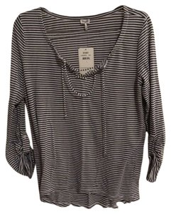 Splendid Lace Up Stripe Henley T Shirt Blue & White Striped