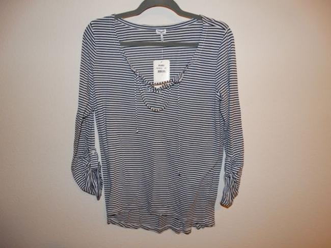 Splendid Lace Up Henley 3/4 Sleeves T Shirt Blue & White Striped