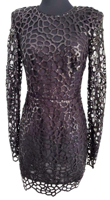 Item - Black And Spider Sequin Mini Short Night Out Dress Size 4 (S)