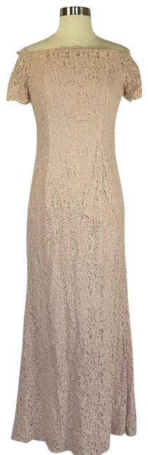 Item - Pink Women's Lace Off The Shoulder Gown Long Formal Dress Size 6 (S)