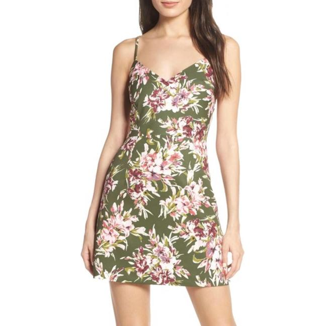 Item - Green Pink Whisper Floral In Floriana Cactus Short Cocktail Dress Size 4 (S)