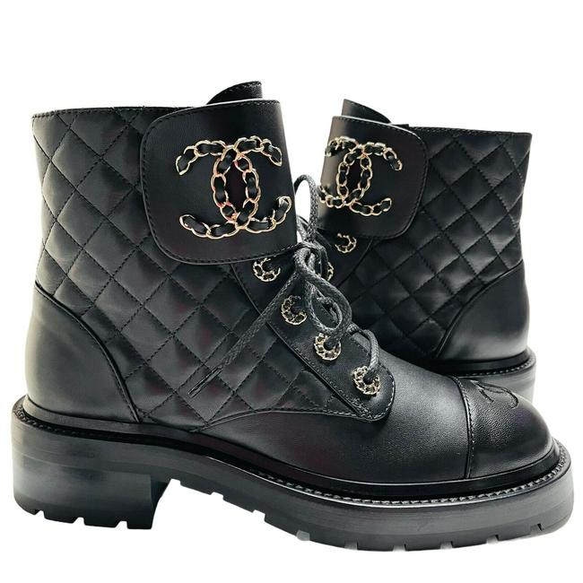 Item - Black Combat Boots Cc Brave Lace Ups Ankle Boots Booties Sneakers Size EU 37 (Approx. US 7) Regular (M, B)