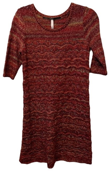 Item - Red Medium Long Sleeved Sweater Short Casual Dress Size 8 (M)