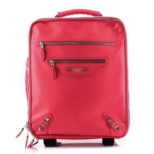 Item - Classic Studs Carry On Rolling Luggage Medium Pink Leather Weekend/Travel Bag
