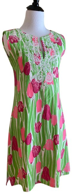 Item - Pink and Green Floral Summer Short Casual Dress Size 4 (S)