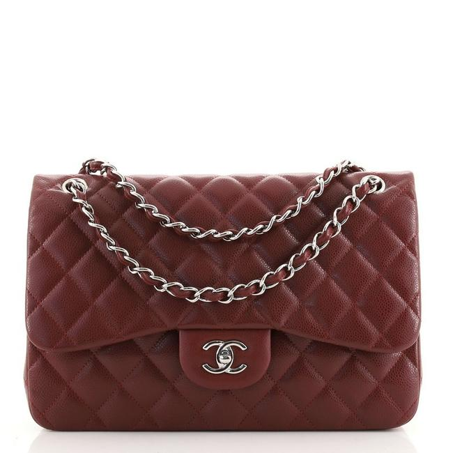 Item - Classic Flap Classic Double Quilted Caviar Jumbo Red Leather Cross Body Bag