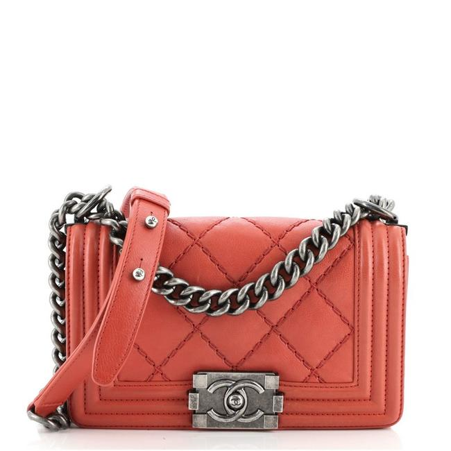 Item - Classic Flap Boy Stitch Quilted Calfskin Small Red Leather Cross Body Bag