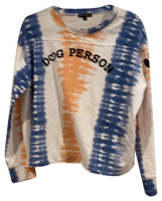 Item - Blue Peach and White Tie Dye Cropped Dog Person Tee Shirt Size 14 (L)
