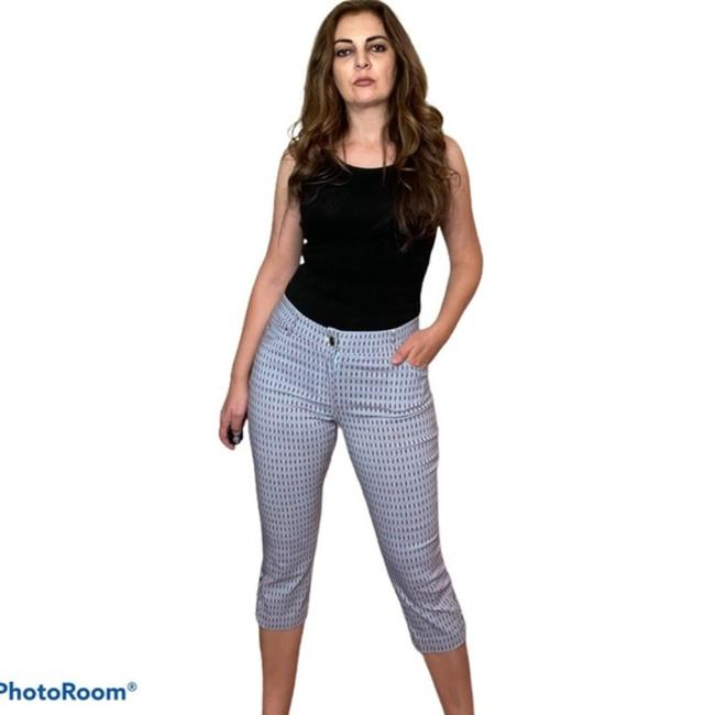Item - Blue and Pink (Printed) Cut Out Pants Capris Size 8 (M, 29, 30)