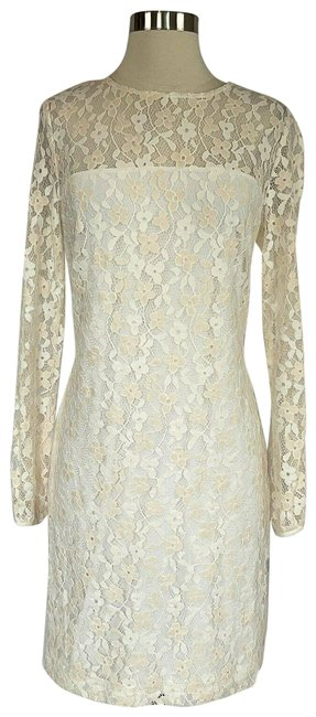 Item - White Women's Ivory Lace Sheer Long Sleeve Cocktail Dress Size 10 (M)