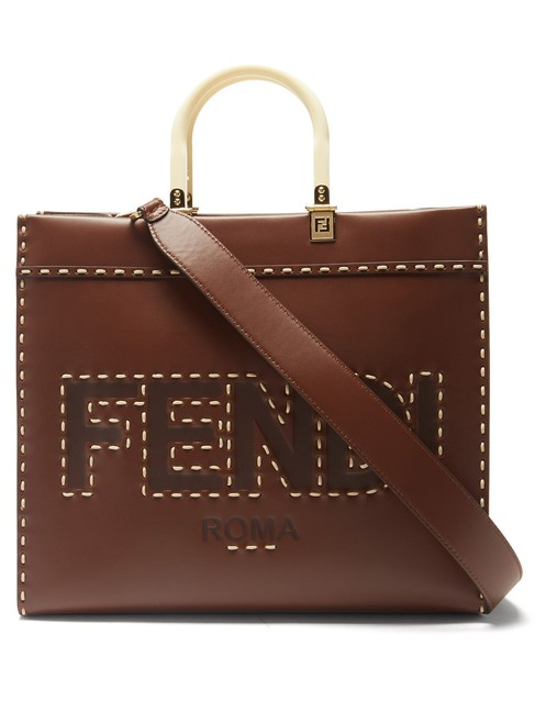 Item - Sunshine Medium Leather-trimmed Embroidered Canvas Brown Leather Tote
