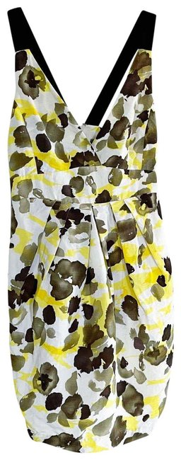 Item - Yellow Abstract Floral Cocktail Dress Size 10 (M)