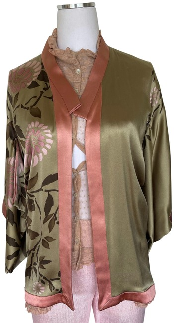 Item - Pink and Green Kimono Vintage S/S 2003 By Tom Ford Documented Silk Poncho/Cape Size 00 (XXS)