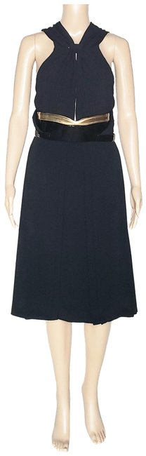 Item - Black New with Patent Leather Belt 40 - Mid-length Cocktail Dress Size 4 (S)