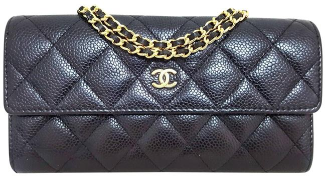 Item - Black Gold Long Timeless Matelasse Quilted Caviar Coin Card Phone Holder Wallet