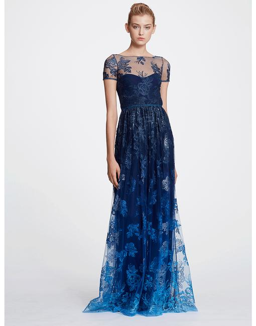 Item - Blue Ombre Embroidered Gown Long Formal Dress Size 4 (S)