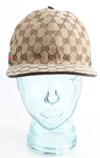 Item - Brown Gg Canvas Baseball Hat with Web Men's Jewelry/Accessory