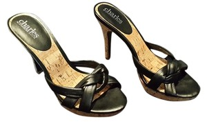 Charles David Stilettos Black with cork Platforms