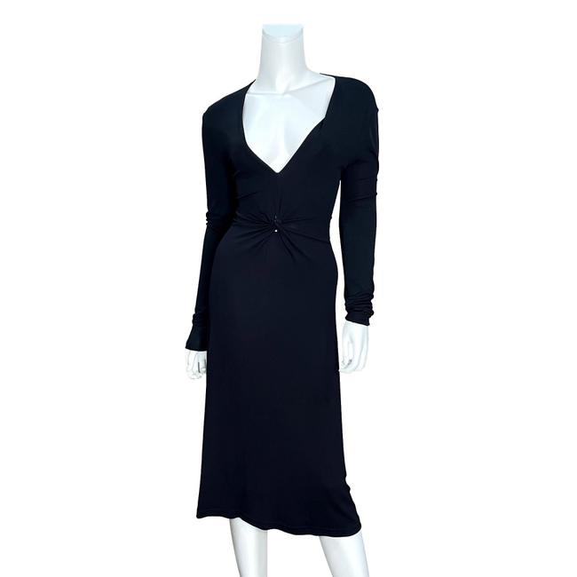 Item - Black Long Sleeve V-neck Front Faux Knot Detail Midi Mid-length Night Out Dress Size 8 (M)