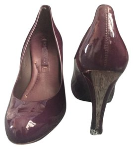 BCBGMAXAZRIA Patent Leather Hidden Platform Hardware Night Out Eggplant and metallic Pumps