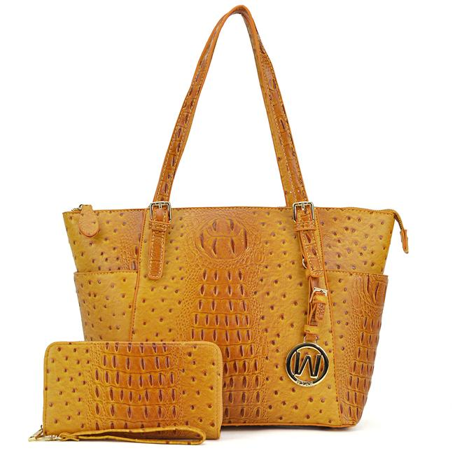 Item - W Ostrich Embossed W/ Dangling Emblem Logo Deco and Matching Walle Mustard Faux Leather Tote
