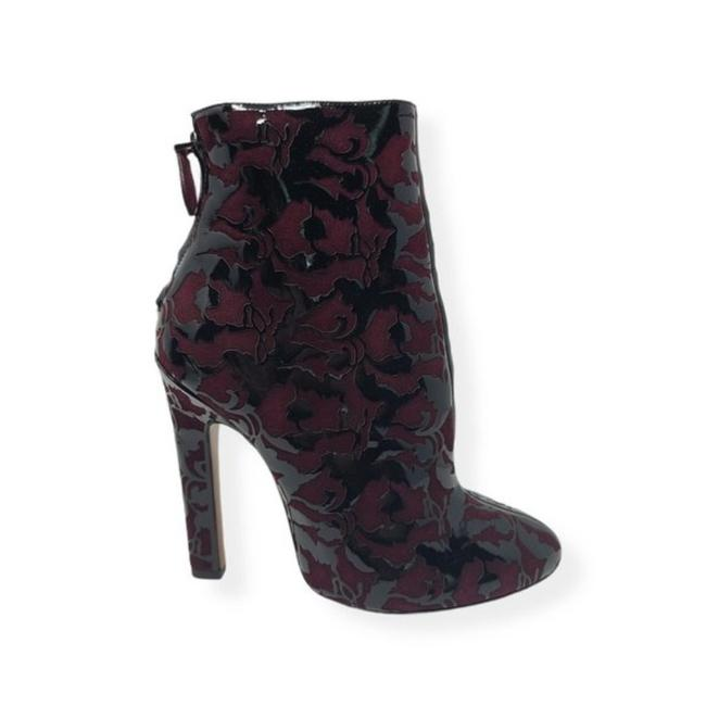 Item - Black Red Burgundy Patent Leather Suede Ankle Boots/Booties Size US 9 Regular (M, B)