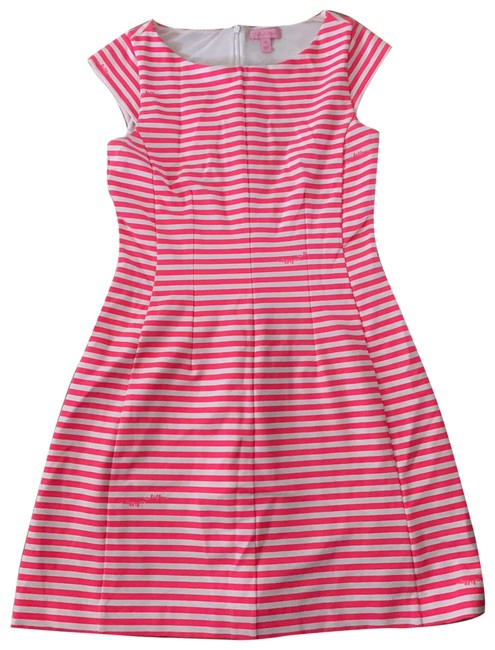 Item - Pink and White Print Short Casual Dress Size 8 (M)