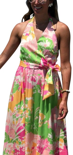 Item - Multicolor Pink Yellow Empire Waist Allover Floral Sleeveless Halter Fit & Flare Mid-length Cocktail Dress Size 4 (S)