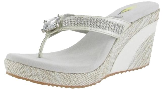 Item - White/ Silver Jaida Sandals Size US 9 Regular (M, B)