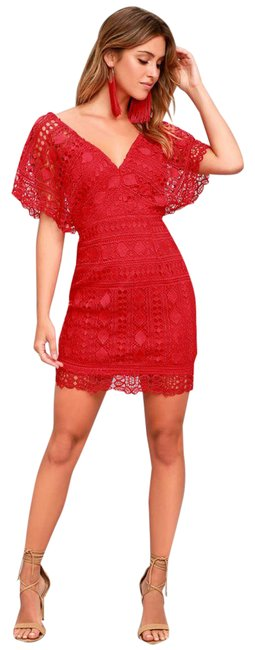 Item - Red Smooching Lace Short Night Out Dress Size 4 (S)