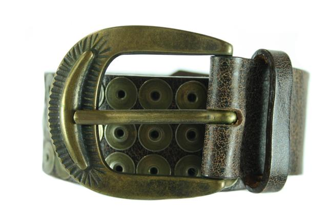Item - Brown Leather with Rivets Size M Belt