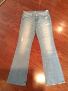 7 For All Mankind Distressed Denim Boot Cut Jeans-Light Wash