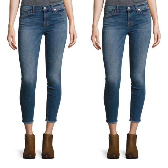 Item - Blue Dark Rinse 7fam Ankle Gwenevere Mid-rise Frayed Hem Skinny Jeans Size 2 (XS, 26)