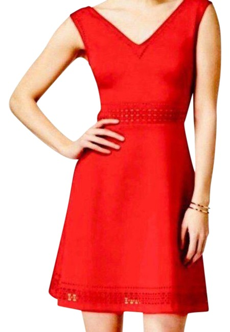Item - Red Gold Laser Cut A-line Short Casual Dress Size 6 (S)