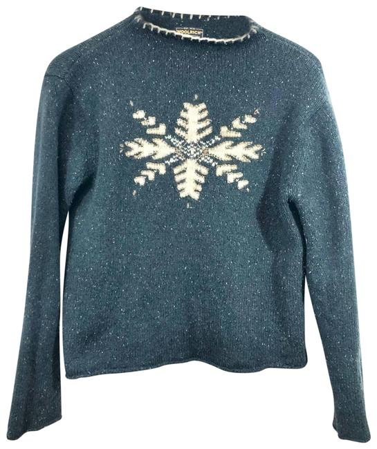 Item - Spruce Lambswool Snowflake Knit Green Sweater