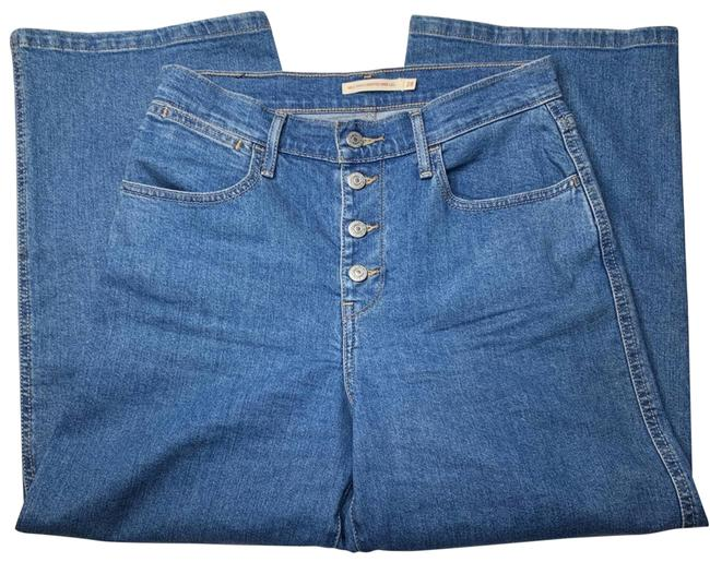 Item - Blue Medium Wash High Rise Cropped Button Straight Leg Jeans Size 28 (4, S)