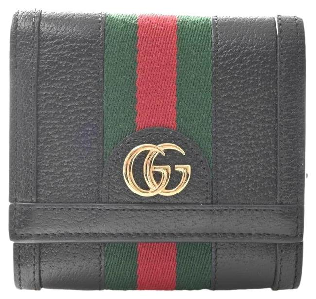 Item - Black / Green / Red Color Offidia Leather Sherry Bi-fold Wallet