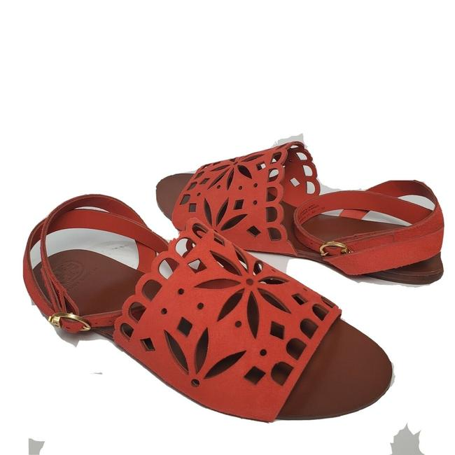 Item - Orange May Perforated Ankle Strap Sandals Size US 7.5 Regular (M, B)
