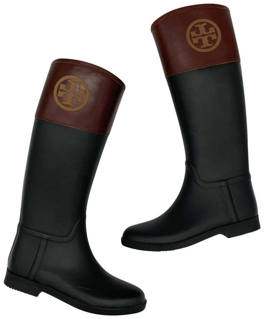 Item - Black Brown Diana Womens Rubber Riding Leather Logo Boots/Booties Size US 8 Regular (M, B)