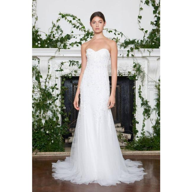 Item - White Galina Floral Sheath Gown Traditional Wedding Dress Size 4 (S)