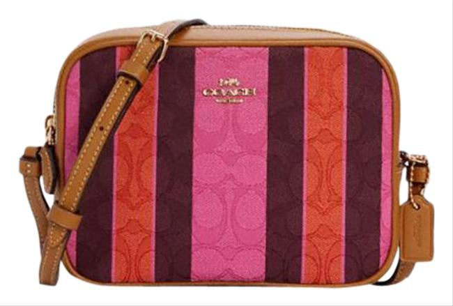 Item - Camera In Signature Jacquard with Stripes Pink/Burgundy Multi Leather Cross Body Bag