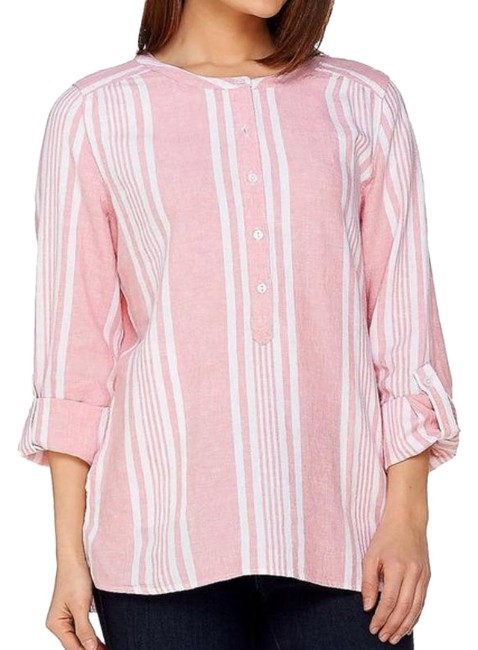 Item - Pink White Women's Striped Yarn Dyed Woven Blouse Size 8 (M)