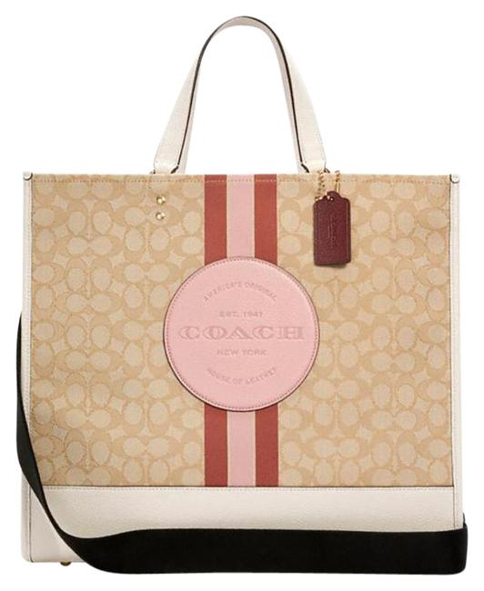 Item - Dempsey 40 In Signature Jacquard with Stripe and Patch Lt Khaki/Powder Pink Multi Leather Tote